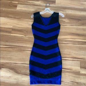 Ted Baker cobalt blue and black chevron dress.